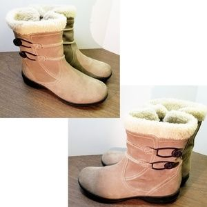 Clarks faux fur winter suede leather zipper boots